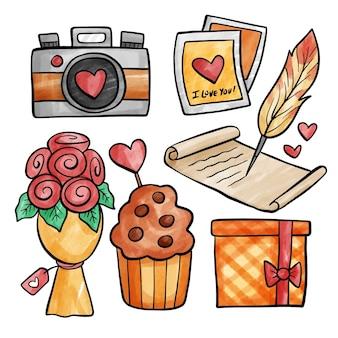 Colección de artículos del día de san valentín