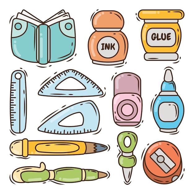 Colección de artículos escolares doodle de dibujos animados dibujados a mano