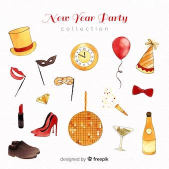 Colección de artículos de fiesta de año nuevo en acuarela