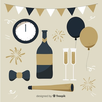 Colección de artículos de fiesta de año nuevo en diseño plano