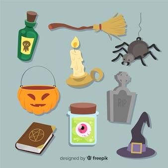 Colección de artículos de halloween dibujados a mano