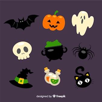 Colección de artículos de halloween en diseño plano