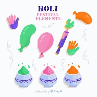 Colección de artículos de holi festival dibujado a mano