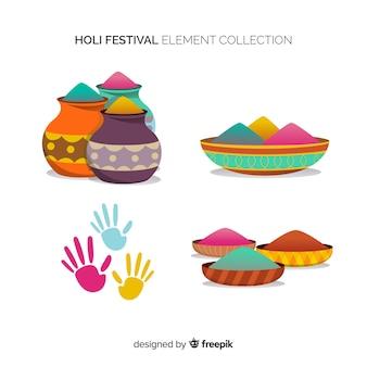 Colección de artículos de holi festival en diseño plano