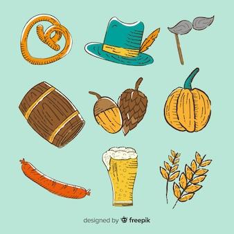 Colección de artículos del oktoberfest dibujados a mano