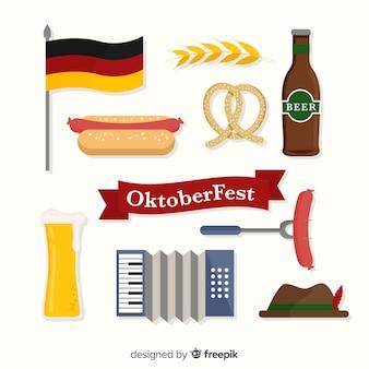 Colección de artículos de oktoberfest en diseño plano