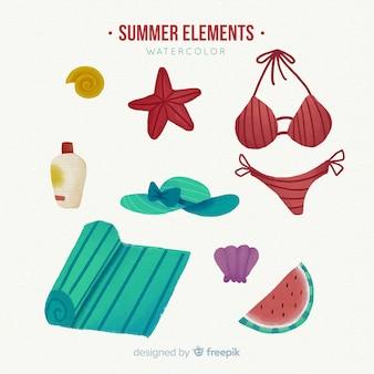 Colección de artículos de verano en acuarela