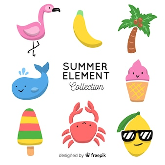 Colección de artículos de verano dibujado a mano