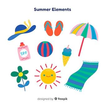 Colección de artículos de verano dibujados a mano