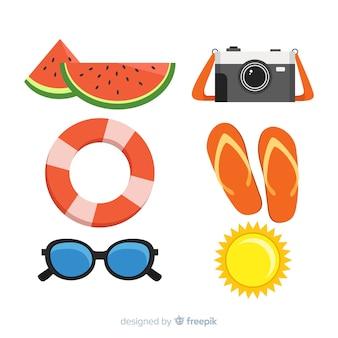 Colección de artículos de verano en diseño plano