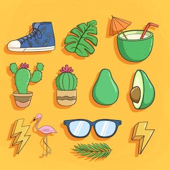 Colección de artículos de verano con zapatos, cactus, bebida de coco, flamenco y gafas de sol.
