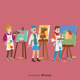 Colección de artistas que hacen su trabajo.
