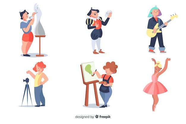 Colección de artistas en el trabajo.