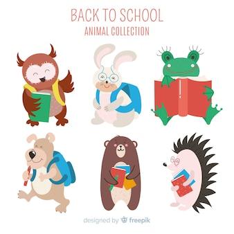 Colección artística de animales de dibujos animados regreso a la escuela