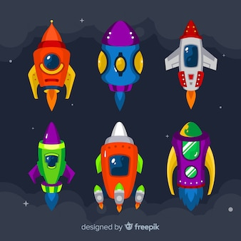 Colección de astronaves dibujados a mano