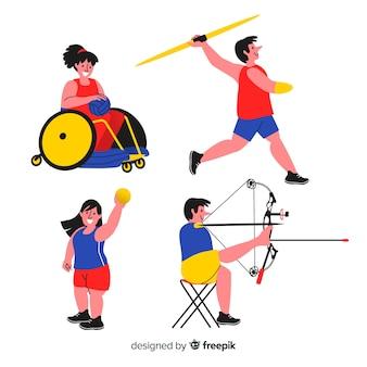 Colección atletas discapacitados dibujados a mano