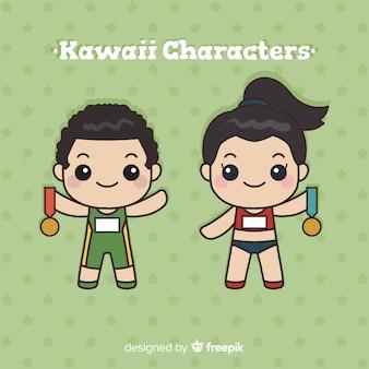 Colección atletas kawaii dibujados a mano