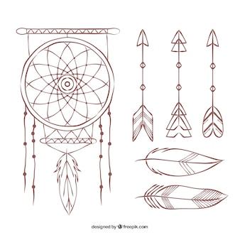 Colección de atrapasueños dibujado a mano y flechas