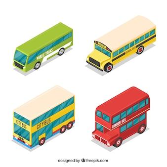 Colección de autobuses en diseño isométrico