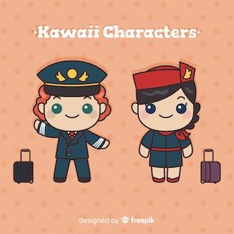 Colección auxiliares de vuelo kawaii dibujados a mano