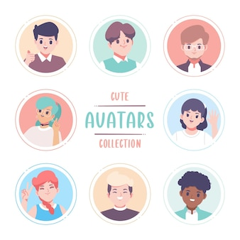 Colección de avatar de diseño plano