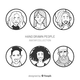 Colección avatar gente dibujada a mano