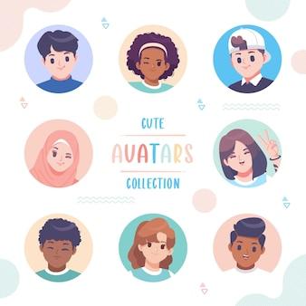 Colección de avatar lindo dibujado a mano