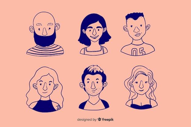 Colección de avatar de personas en diseño dibujado a mano