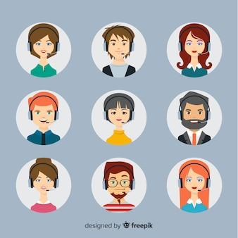 Colección de avatares de call center