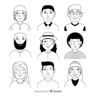 Colección avatares de gente dibujados a mano