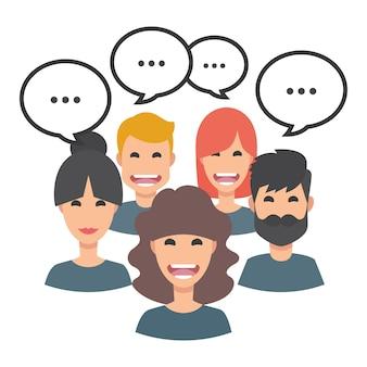 Colección de avatares de gente hablando