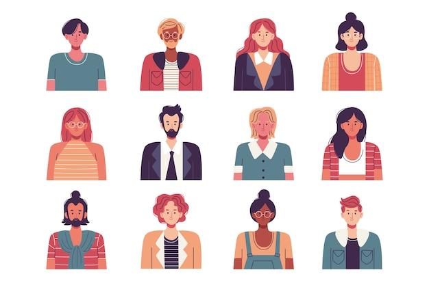 Colección de avatares de grupo de personas