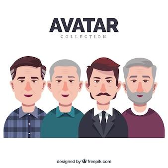 Colección de avatares de hombres adultos