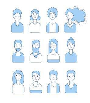 Colección de avatares de línea. personajes de perfil de internet web se enfrentan a avatares vectoriales anónimos de usuarios masculinos y femeninos. ilustración personaje de perfil femenino y masculino.