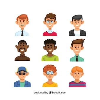 Colección de avatares masculinos dibujados a mano