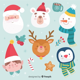 Colección de avatares navideños dibujados a mano