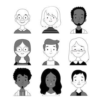 Colección de avatares de personas en blanco y negro