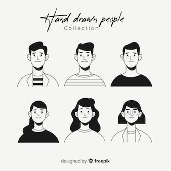 Colección avatares de personas sin color dibujados a mano