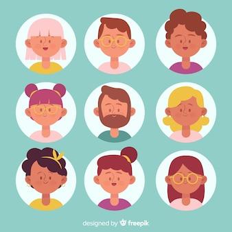 Colección avatares de personas dibujados a mano