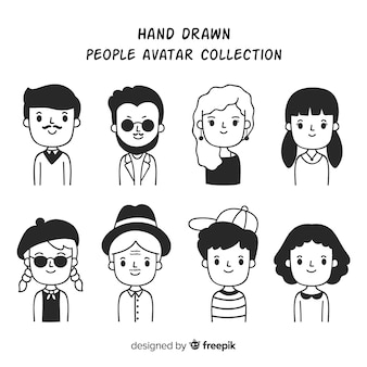 Colección avatares personas dibujos animados