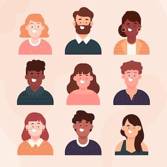 Colección de avatares de personas de diseño plano