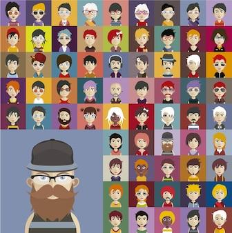 Colección de avatares de personas hipster