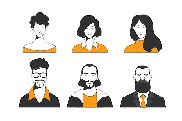 Colección de avatares de personas ilustradas.