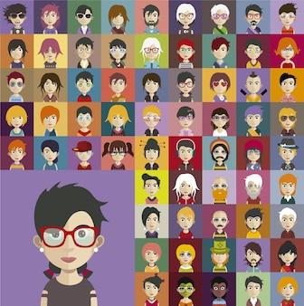 Colección de avatares de personas llevando accesorios