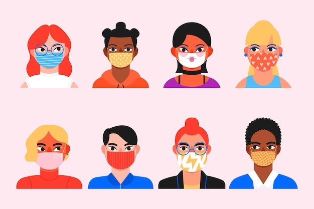 Colección de avatares de personas con máscaras médicas.
