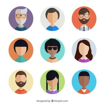 Colección de avatares de usuarios variados