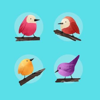 Colección de aves acuarela