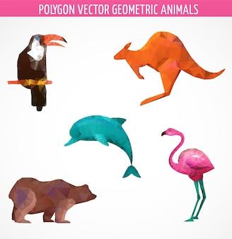 Colección de aves y animales poligonales abstractos vectoriales. ilustración vectorial