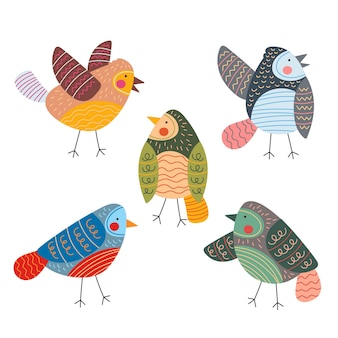 Colección de aves dibujadas a mano