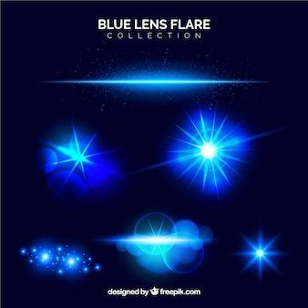 Colección azul de bengalas de lente